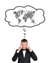 World map businessman and bubble speech with Stock Photos
