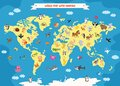 World Map With Cartoon Animals