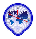 World map and clock3 Stock Photos