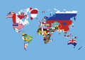 World map colored in countries flags no names without on blue background Royalty Free Stock Photo