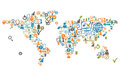 World map composed from social web icons and device Royalty Free Stock Photo