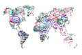 World map created with passport stamps Royalty Free Stock Photo