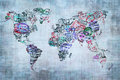 World map created with passport stamps travel concept Stock Photo
