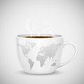 World map on cup illustration of coffee with Stock Images