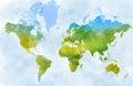 World map, designed illustrated strokes