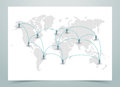 World Map Dotted Vector With Links