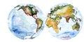 World map drawing watercolor