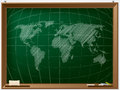 World map drawn on chalcboard by hand Royalty Free Stock Photo