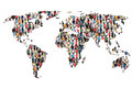 World map earth multicultural group of people integration immigration diversity Royalty Free Stock Photo