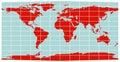 World Map - Equirectangular grid Royalty Free Stock Photo