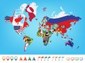 World map with flag Royalty Free Stock Photo