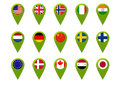 World map flag pins with flags Stock Image