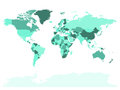 World map in four shades of turquoise on white background. High detail blank political map. Vector illustration with