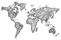 World map, freehand pencil, vector, illustration, pattern.