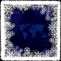 World map on frozen window Royalty Free Stock Photo