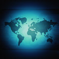 World map futuristic background with blue lines Stock Image