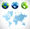 World map and globes illustration design Royalty Free Stock Photo