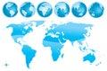 World map glosy blue Royalty Free Stock Photo