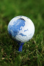 World map on golf ball Royalty Free Stock Photo