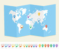 World map gps location pins travel concept eps v with and social media speech bubbles earth brochure vector file organized in Stock Images
