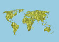 World map of green leaves, vector Royalty Free Stock Photo