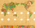 World map with hands on band aid of the the people of earth represented by in different colors bandaid conceptual image of global Stock Photo