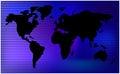 World map. horizontal stripes, bars - abstract vector background.  Blue mesh illustration Royalty Free Stock Photo