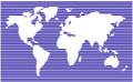 World map. horizontal stripes, bars - abstract vector background.  Blue silhouette illustration Royalty Free Stock Photo