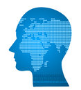 World map in human head Royalty Free Stock Image