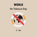 World map icon and Quit Tobacco sign.May 31st World no tobacco d