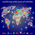 World map with icons of transport for traveling. Stock Image