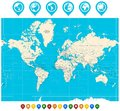 World Map illustration and map pointers
