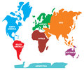 World map illustration showing the continents Stock Images