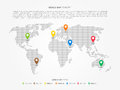 World map infographic with colorful pointers