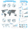 World map infographic elements with icons and maps vector Royalty Free Stock Images