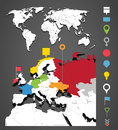 World map infographic template with icons set Stock Photography