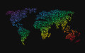 World map made ​​up of small rainbow dots