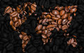 World map made of coffee beans. Royalty Free Stock Photo