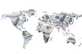 The world map made with dollar bills Royalty Free Stock Photo