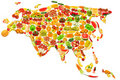 World map made of  fruits and vegetables Stock Image