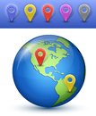 World map with marks north and south america vector illustration Stock Photo