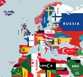 Vector part of world map with region of european and north african countries mixed with their national flags Royalty Free Stock Photo