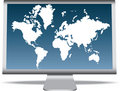 World map on monitor Royalty Free Stock Photo