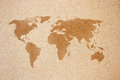 World map on natural brown recycled paper Royalty Free Stock Photography