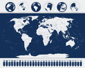 World map and Navigation Icons