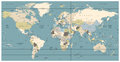 World Map old colors illustration: countries, cities, water obje Royalty Free Stock Photo