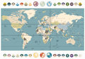 World Map old colors illustration with round flat icons and glob Royalty Free Stock Photo
