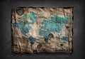 World map on old paper distressed Stock Photos