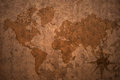 World map on a old vintage crack paper background Royalty Free Stock Photo