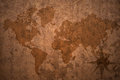 World map on a old vintage paper background Royalty Free Stock Photo